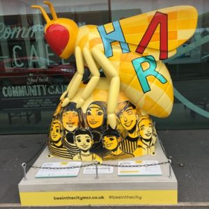 Bee sculpture outside Manchester Youth Zone