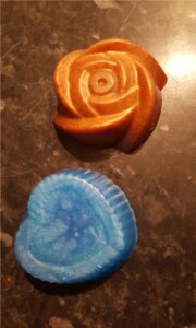 orange and blue bath bombs