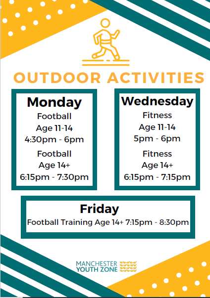 Seniors Activities Timetable: Football on Monday and Friday, Fitness on Wednesday