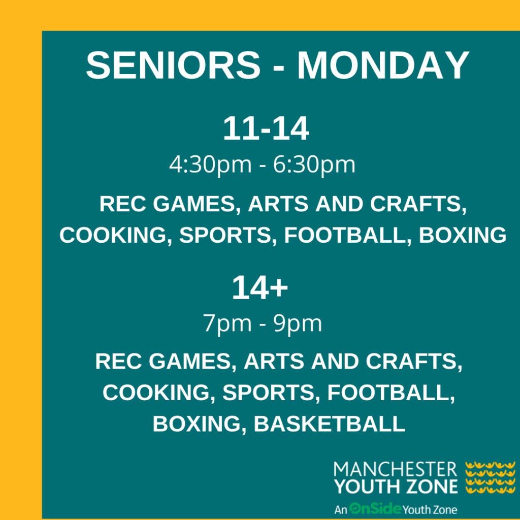 Timetable - Seniors Monday June 2021