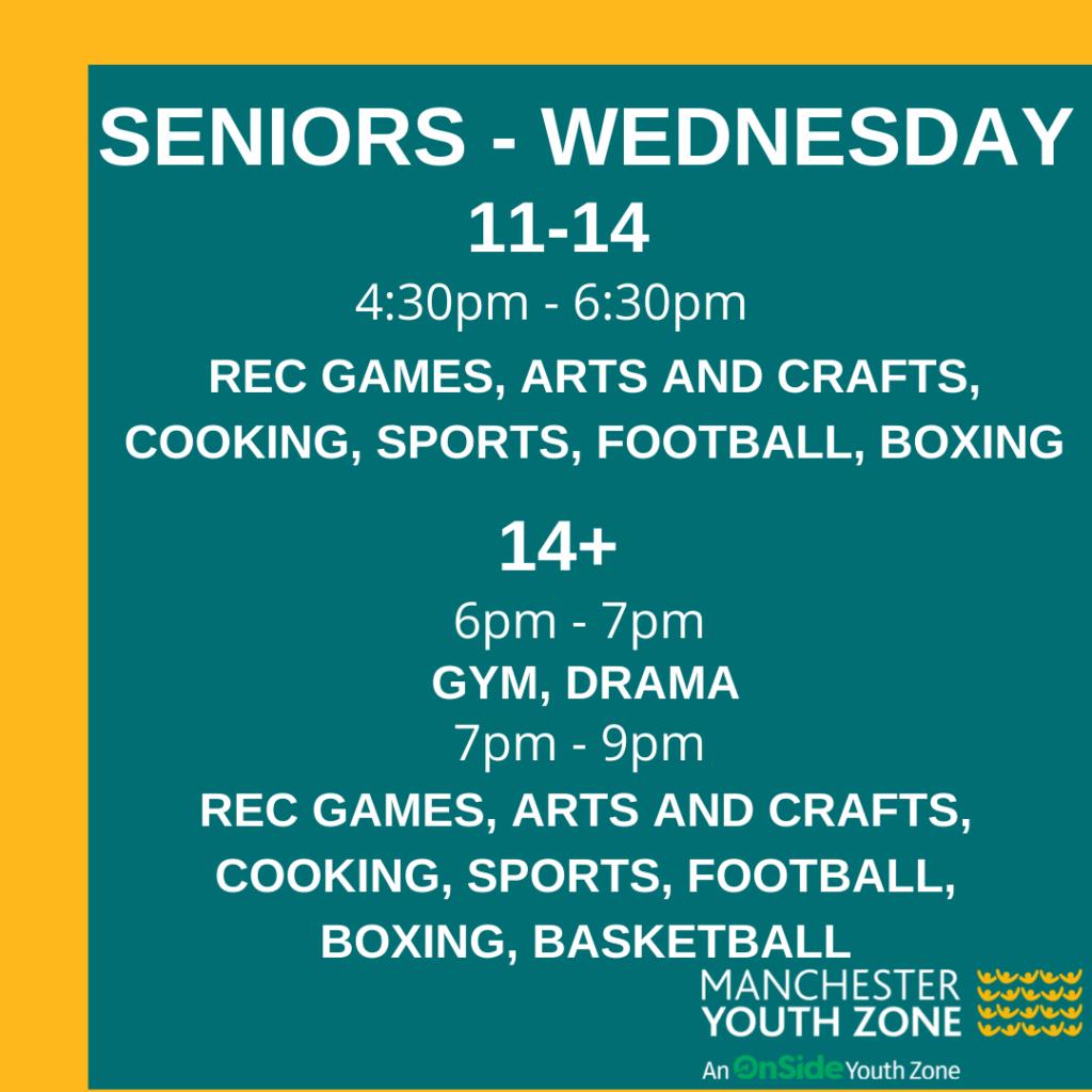 Timetable - Seniors Wednesday June 2021