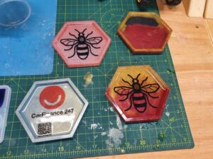Manchester Bee resin coasters